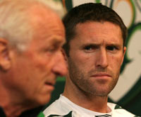 Irish captain Robbie Keane ponders why Trapptoni's language sounds vaguely familiar.