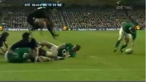 O'Driscoll's famed pick-up skills sometimes come in handy in rugby too.