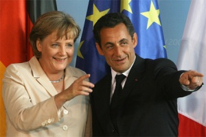 Merkel and Sarkozy ponder an independent Ireland successfully managing its own affairs.