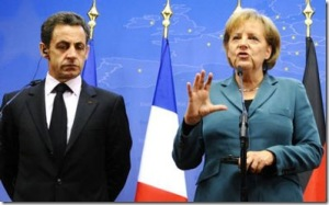 """How can we wash our hands of the Irish?"" asks Merkel while Sarkozy listens pensively."