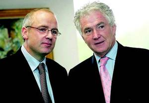 David Drumm and Sean Fitzpatrick congratulate themselves on their daring theft.
