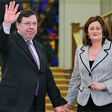 Cowen waves to a cheering public, completely misunderstanding why they're so happy.