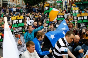 Sadly, Éirígí (Arise) seemed unaware of the Swiftean irony of having a sit-down protest.